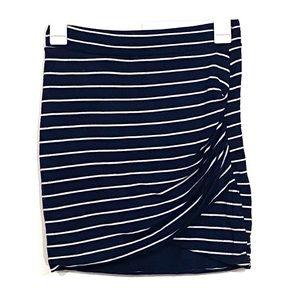 Zara Trafaluc Navy Striped Stretchy Bodycon Skirt